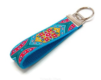 Turquoise Blue and Lime Green Medallion Flower Fabric Keychain Key fob