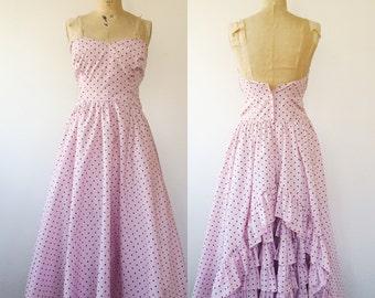 vintage party dress / polka dot dress / Strapless Chianca dress