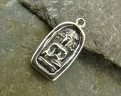 Buddha Amulet Oval- Sterling Silver Buddha Charm - One Piece - cba2