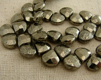 Faceted Pyrite Briolettes - For When You Only Need A Few - Ten Pieces - Five Earring Pairs