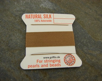 Griffin Natural Silk Beading Cord - Size 4  - Tan - Taupe - Perfect For Knotting