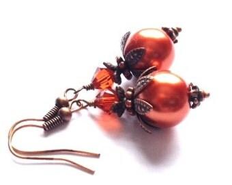 Pearl Earrings, Crystal Swarvoski Earrings, Burnt Orange Pearl Earring, Art Nouveau, Antique Copper, Bridesmaid Earrings, My Julie Jewels