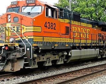 Train Photography, Orange Train Art for Men, Boys Room Decor,BNSF Railroad Art,Burlington Northern Santa Fe Railway Photo,Train Engine Print