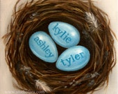 CUSTOM Mom's Nest Family Painting in OIL by LARA 6x6 Personalized Names Words (Up to 4 Eggs)