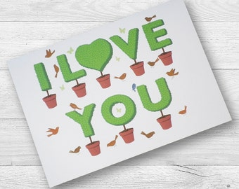 Valentine Topiary I Love You Card