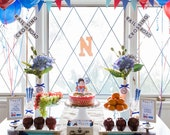 Train Birthday, Train Printables, Train Party Kit, Choo Choo Red and Blue Train, Your Custom Photo, Party Collection, Party Kit