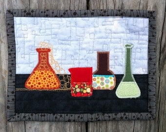 Laboratory Still Life - Quilted wall hanging - Assorted lab equipment