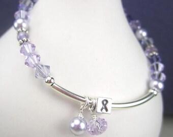 Lymphoma Bracelet Sterling Silver Crystal Pearl Beaded Bracelet Violet Hodgkins Lime