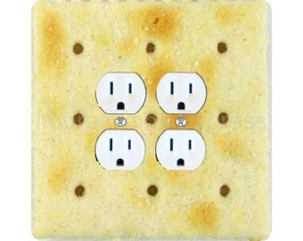 Saltine Cracker Square Double Duplex Outlet Plate Cover