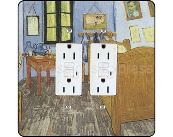 Vincent Van Gogh The Bedroom Painting Square Double Grounded GFI Outlet Plate Cover