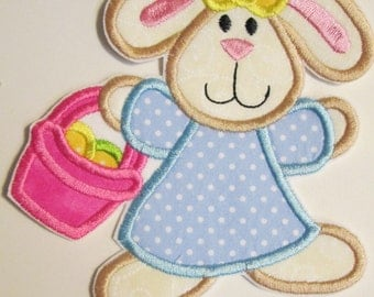 Easter Girl Bunny with Easter Basket - Iron On or Sew On Embroidered Applique