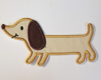 Dachsund Iron On or Sew On Embroidered Applique  READY TO SHIP in 3 Business Days