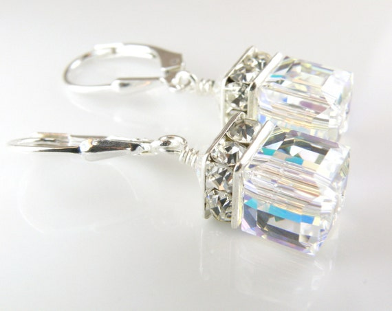 Clear Crystal Drop Earrings, Crystal Wedding Jewelry, Sterling Silver, Bridal White Swarovski Cube, Sterling Silver, Ice, Ready To Ship