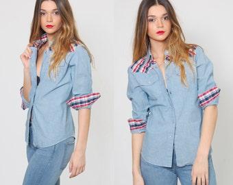 Vintage 1970s DENIM Shirt WESTERN Button Down Chambray PLAID Shirt Cowgirl Denim Shirt