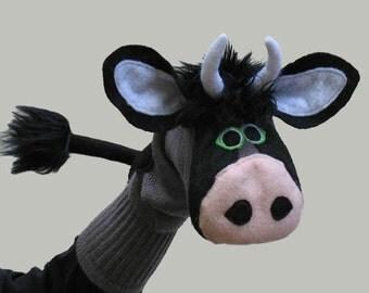 Handmade, Couture, Bull Sock Puppet, Taurus or Stock Broker Gift
