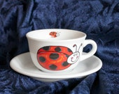 Vintage ladybug tea cup, coffee cup and saucer collectible,ladybug,ladybug coffee cup,