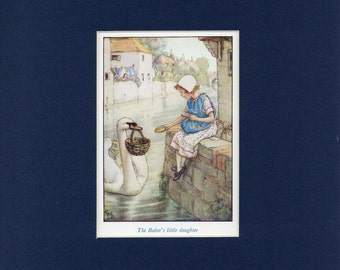 Adorable circa 1940's Susan the Baker's Little Daughter Vintage Cicely Mary Barker Print