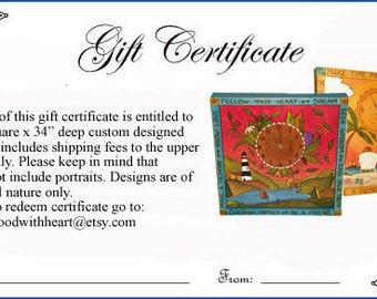 GIFT CERTIFICATE Custom made clock  -Stocking stuffer -  Cottage Chic/ Shabby Chic/ Woodburned/ handpainted/ Wedding/ Bride and Groom