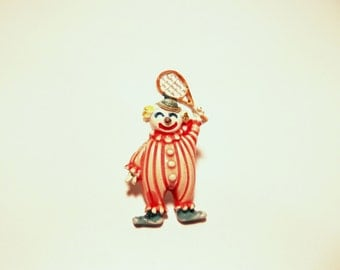 Clown Pin 1980s Painted Metal Tennis Racket red and white 80s jewelry