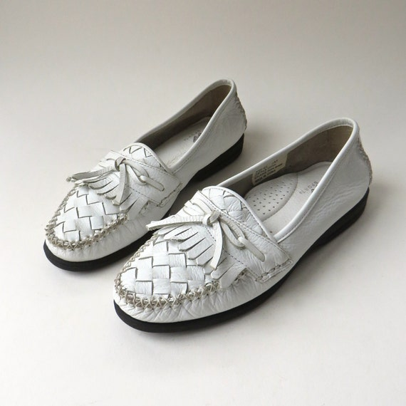 vintage Woven White Leather Moccasins / Natural Sport