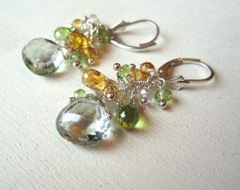 Gemstone cluster earrings on sterling silver, green amethyst, prasiolite, citrine, and peridot earrings on sterling silver lever back wires