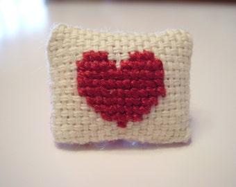 Dark Red Heart Counted Cross Stitched Dollhouse Pillow