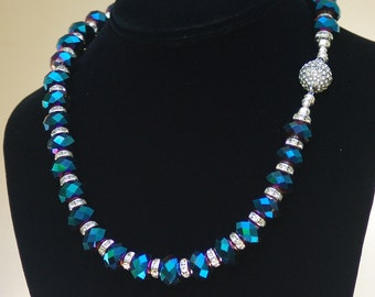 Sapphire Blue Crystal Necklace - Midnight Blue