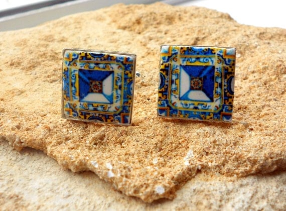 CUFF LINKS Portugal Tile Azulejo Antique 17th Century Gold Blue Tomar - Santa Iria Church Diamond Point Tiles
