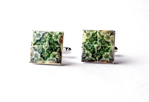 Portugal Green AntiqueTile Replica CUFFLINKS from Ovar, 17mm -