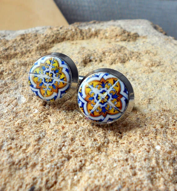 CUFF LINKS Portugal Antique Azulejo Tile Replica  -  Blue Gold Lisbon 17th Century