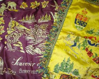 Vintage Flocked Pillow Covers or Shams - Souvenir of Canada Bonnyville and Souvenir of Canada Lethbridge Satin and fringe Camper Cabin