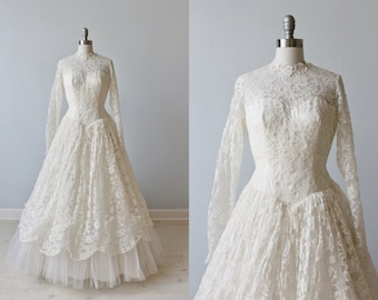 1950s Wedding Dress / Lace Wedding Dress /  Long Sleeves / Lilly