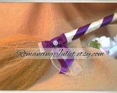 Classic Jump Broom Made in Your Custom Colors with Rhinestone Accent ..shown in ivory/eggplant purple/ivory organza