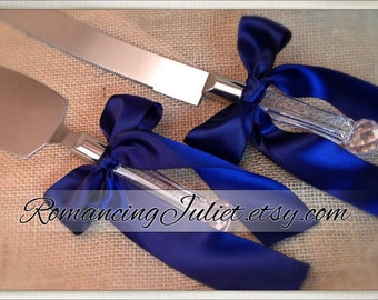 Custom Colors Cake Server Set ..You Choose The Bow Colors..shown in navy blue
