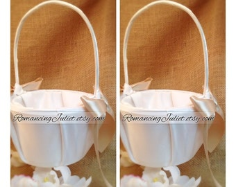 Custom Colors Satin Flower Girl Basket..SET OF 2..You Choose The Colors..Shown in Ivory/champagne