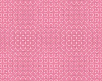 BLACK FRIDAY SALE - Mini Quatrefoil Cotton in Hot Pink - 1 Yard - C345-70 Hot Pink - by Rbd Designers for Riley Blake Designs