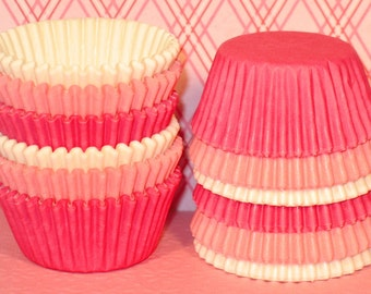 Mini Be My Valentine Bright Pink,Pastel Pink and White Cupcake Liners  (60 Qty)  Bright Pink, Light Pink and White Mini Cupcake Liners
