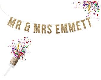 Custom MR & MRS Wedding Banner. Wedding Glitter Garland. Reception Banner. Custom Wedding Garland