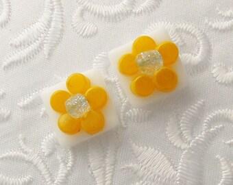 Dichroic Earrings - Flower Earrings - Yellow Earrings - Dichroic Fused Glass Earrings - Stud Earrings - Post Earrings - Small Stud 1108