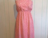 Vintage Altered Pink Dress Bow Print Size 8