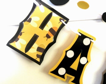 Clearance SALE - Was 23 Now 10 - HAPPY BIRTHDAY Banner - Bees in Yellow Black and White - Beehive