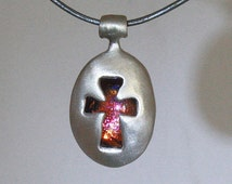 Cross necklace, Necklace for men, Silver necklace for women, Cross pendant with glass cabochon. Free expedited shipping.