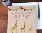 Personalised Giraffe Notebook - Eco-friendly and personalised just for you, a great gift for adults or children.