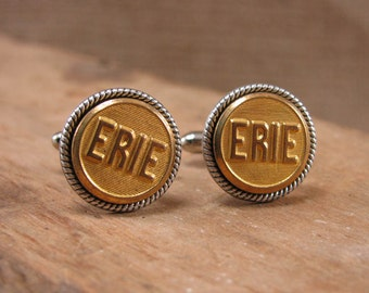 Upcycled Button Jewelry - Authentic ERIE Railway Cuff Buttons Converted into Men's Cuff Links - Pennsylvania - Railroad Memorabilia