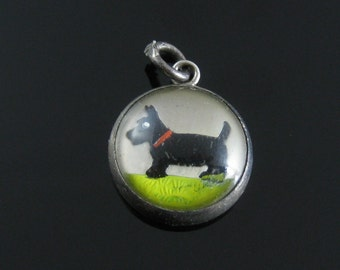 Charm, Bubble Glass, Dog, Scottish Terrier, Black Dog, Colorful, Vintage Charm