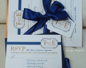 Modern Blue and Copper Elegant Invitation Set