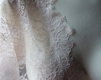 PINK BLUSH Chantilly Eyelash Lace Fabric for Bridal Gowns, Veils, Garments, Costumes CH 200pb