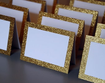 Blank Gold Glitter Double Layer Tented Place Cards - 3 x 4""