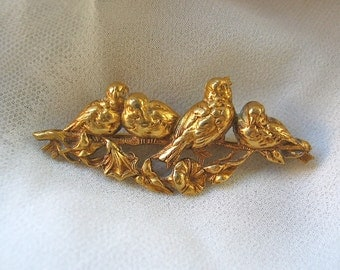 Repousse Bird Brooch with Gold Wash France