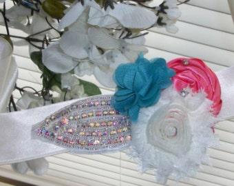 Coral Sash,Coral Wedding,Teal and Coral Wedding,Wedding Sash,Flower Girl Sash,Flower Sash,Rhinestone Sash